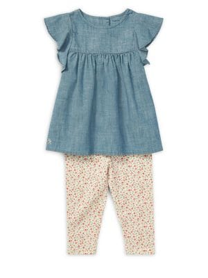 Baby Girls TwoPiece Chambray Top  Jersey Leggings Set
