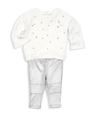 Baby Girls TwoPiece Embroidered Sweater  Metallic Leggings Set
