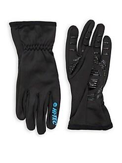Black leather gloves jack off of bear
