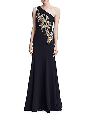 690b0c1a9aa Marchesa Notte - Embroidered One-Shoulder Gown