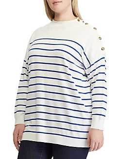 4527f1f07fe Product image. QUICK VIEW. Lauren Ralph Lauren. Plus Striped Button-Trimmed  Sweater