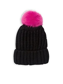 e7968cf9906a2 Fox Fur Pom Beanie NAVY. QUICK VIEW. Product image