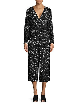 9ad3ac435a1 Eliza J - Polka Dot Bishop-Sleeve Jumpsuit