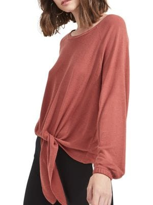 Tie-Front Long-Sleeve...
