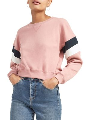 Stripe-Sleeve Cotton...