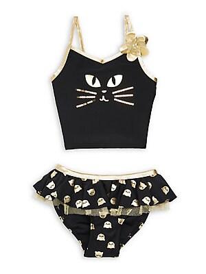 cb2d913cb2a Flapdoodles - Little Girl's 2-Piece Metallic Cat Swimsuit