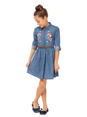 Girls Embroidered Denim Shirtdress