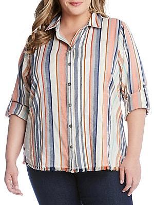 859185c340a93 Karen Kane - Plus Striped Fringe Button-Down Shirt