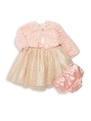 Baby Girls ThreePiece FauxFur Jacket GlitterDot Dress  Bloomers Set
