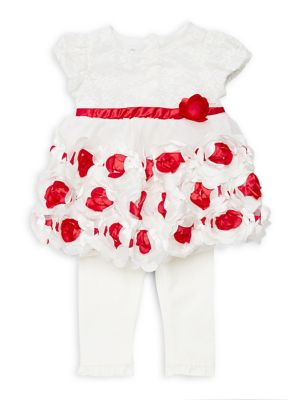 Baby Girls TwoPiece Rosette Dress  Leggings Set