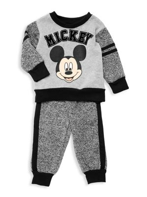 Baby Boys TwoPiece Mickey Mouse Marled Stripe Pajamas Set