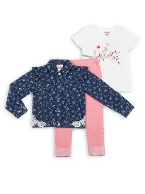 Little Girls ThreePiece Floral Denim Jacket Graphic Top  Leggings Set