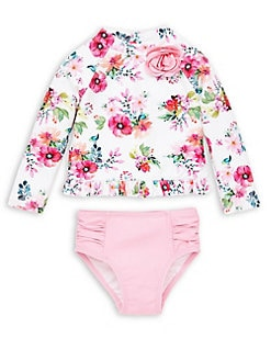 b5f7ad9f8220 Product image. QUICK VIEW. Little Me. Baby Girl s 2-Piece Floral Rash Guard    Bottoms Set