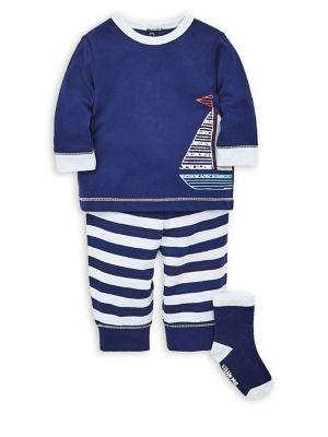 Baby Boys ThreePiece LongSleeve Cotton Tee Striped Cotton Jogger Pants  Socks Set