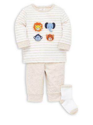 Baby Boys ThreePiece Striped Cotton Tee Classic Cotton Pants  Socks Set