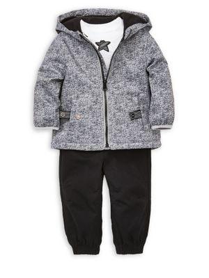 Baby Boys ThreePiece Jacket Graphic Cotton Tee  Cotton Jogger Pants Set
