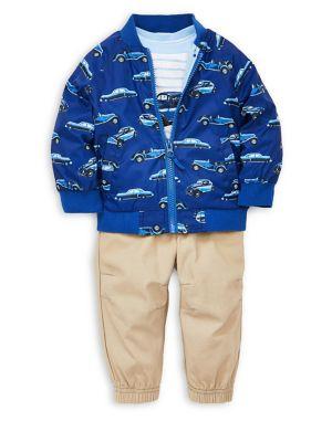 Baby Boys ThreePiece Printed Jacket Cotton Tee  Cotton Jogger Pants Set