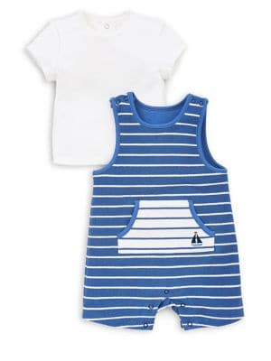 Baby Boys TwoPiece French Terry Striped Shortalls  ShortSleeve Tee Set