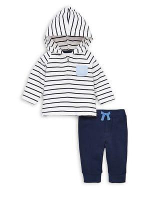 Baby Boys  TwoPiece Striped Cotton Hoodie  Drawstring Jogger Pants Set