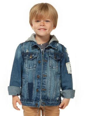 Little Boys Hooded Denim Jacket