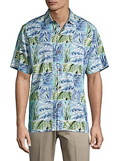 9c371fb8 QUICK VIEW. Tommy Bahama. Standard-Fit Think Outside the Fronds Silk Camp  Shirt