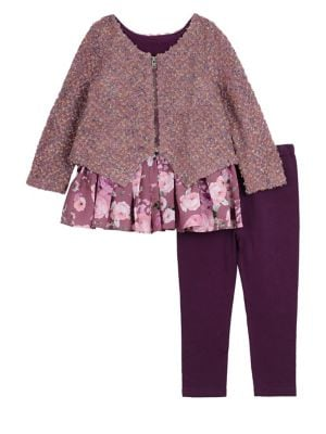 Baby Girls ThreePiece Jacket Top  Leggings Set