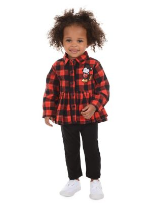 Baby Girls TwoPiece Disney Plaid Cotton Collared Shirt  Leggings Set