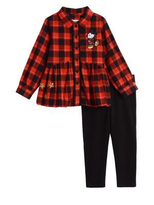 Little Girls Disney TwoPiece Cotton Collared Shirt  Leggings Set