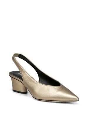 Image of Gema Metallic Leather Slingback Heels