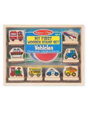 10Piece My First Vehicle Wooden Stamp Set