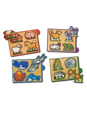 Set of Four Animal Mini Wooden Puzzles