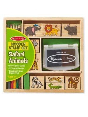 Safari Animals Wooden Stamp Set