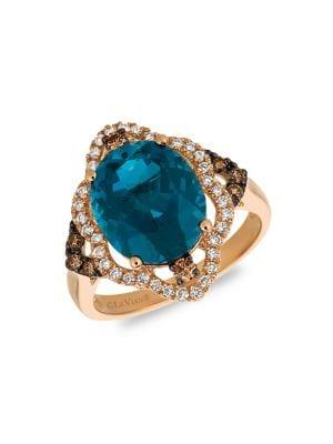 Image of 14K Strawberry Gold, Deep Sea Blue Topaz, Vanilla Diamonds & Chocolate Diamonds Ring