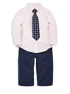 cda99eabdd2e4 QUICK VIEW. Little Me. Baby Boy's 3-Piece Cotton Tie, Collared Shirt & Pants  Set