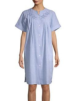 a3afe75149 QUICK VIEW. Miss Elaine. Striped Floral Sleep Shirt