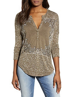 694c681302068 QUICK VIEW. Lucky Brand. Printed Three-Quarter Sleeve Top
