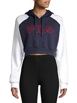 8b6cfc7f145fc Logo Fleece Cropped Hoodie NAVY. QUICK VIEW. Product image. QUICK VIEW. FILA