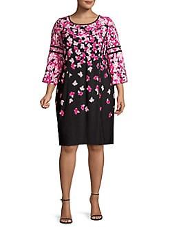 1f18b590fdb QUICK VIEW. Calvin Klein. Plus Floral Printed Long-Sleeve Shift Dress