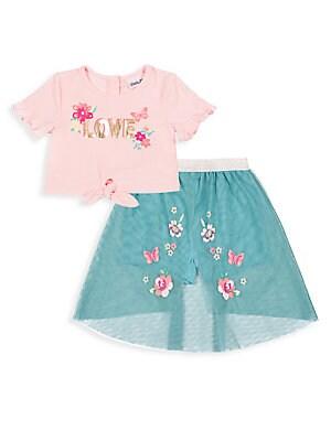 645e5995be Little Lass - Little Girl s 2-Piece Lace Top   Floral Challis ...