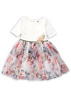 b75153391ad Product image. QUICK VIEW. Zunie. Little Girl s Three-Quarter Sleeve Floral  Dress