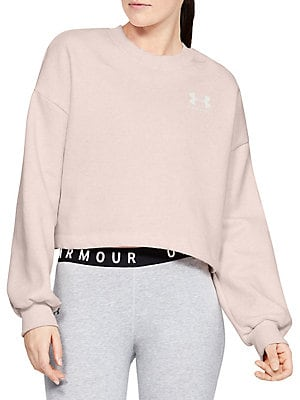 Dropped Shoulder Cotton Blend Cropped Sweatshirt by Under Armour
