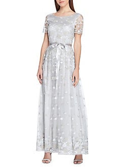 b824302d58f6 QUICK VIEW. Tahari Arthur S. Levine. Embroidered Floral Lace Satin Ribbon  Gown
