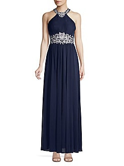 59c90d8310f QUICK VIEW. Betsy   Adam. Embroidered Halterneck Column Gown