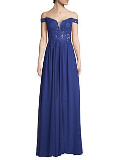 cb713ed583e QUICK VIEW. Betsy   Adam. Embroidered Off-The-Shoulder Gown