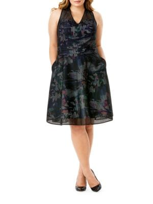 Plus Floral-Lined Mesh Fit-and-Flare Dress 500089019913