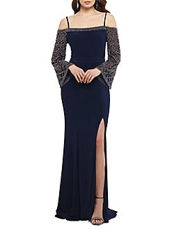 7569724db0e QUICK VIEW. Xscape. Cold Shoulder Embellished Sleeves Gown