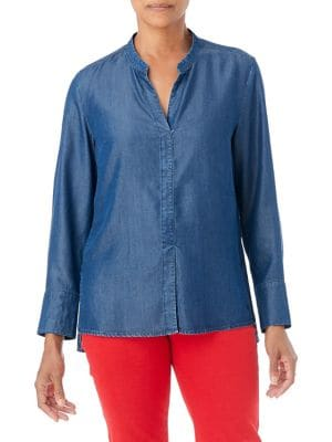 Image of High-Low Denim Blouse