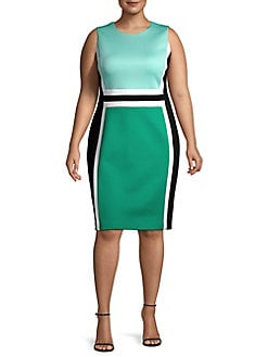 Plus Sleeveless Colorblocked Sheath Dress SEAGLASS. QUICK VIEW. Product  image d35c4827ca46