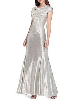 d5c579a7271f4 Metallic Cowlneck Cap-Sleeve Gown SILVER. QUICK VIEW. Product image