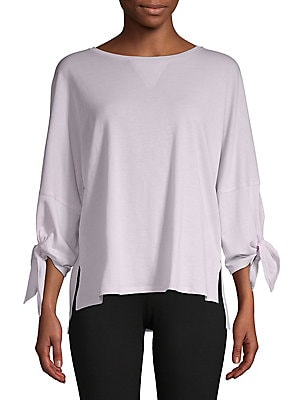576c7d04ea1274 Calvin Klein Performance - Tie-Sleeve Cotton Blend Top